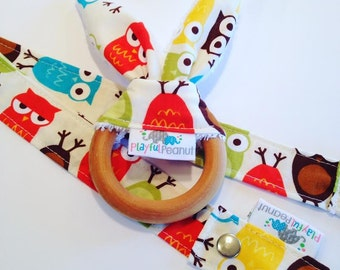 Organic Teether | Baby Teether | Bunny Teething Ring and Toy Strap COMBO: Owls Bermuda