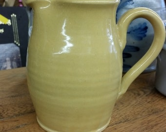 Vintage Country Yellow Sampson Pottery Pitcher from Rustysecrets