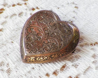 Elegant Siam Silver Hollow Heart Shaped Embossed Heart Pin / Brooch / Broach / Pendant, Beveled, Victorian, Two Dimensional
