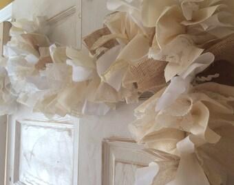 Burlap Wedding Decoration 6-10 Foot Cream, White & Burlap Fabric and Lace Garland. Bridal Shower or Ceremony Use, Sustainable Decor