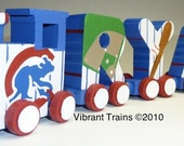 RESERVED 4 Letter Custom Painted Alphabet Name Train with Engine and Caboose included Complete