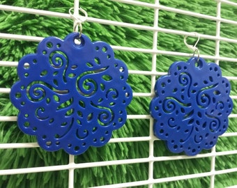Blues Round statement earrings -upcycled repurposed