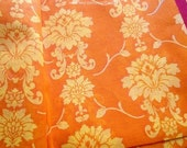 Damask Indian Cotton Sari Fabric, Floral Fabric, Saree Fabric By The Yard, Orange Sari Fabric, Border Print Sari Fabric, Indian Fabrics