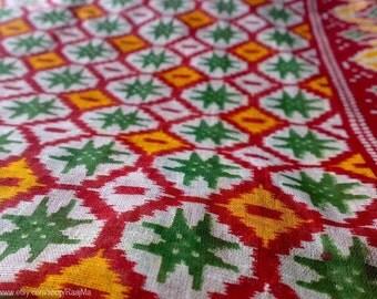 Indian Sari Fabric By The Yard, Ikat Print Border Saree, Sheer Cotton Saree Fabric, Belly Dancing Costume Fabric, Garba Fabric