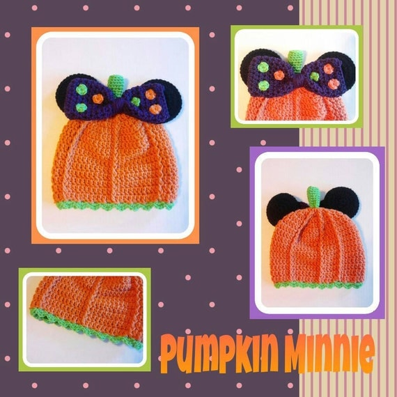 Minnie Mouse Pumpkin Hat, Minnie Mouse Halloween Hat, Minnie Mouse Fall Hat, Minnie Mouse Pumpkin Beanie, Girls Minnie Mouse Costume Hat
