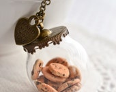 Cookie Jar Necklace-Antique Bronze-Food Jewelry