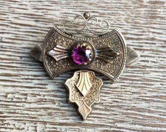 Victorian Amethyst Gold Brooch Engraved 14k Antique Jewelry