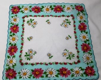 Vintage White Floral Handkerchief With Aqua Border