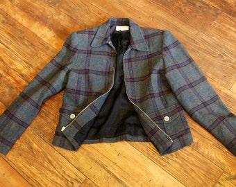 Vintage GANTOS Wool Blend Gray Plaid Blazer, Jacket, Size 4