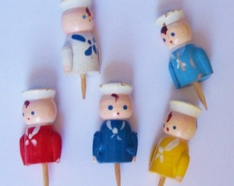 5 Vintage Wooden Candle Holder Cupcake Picks