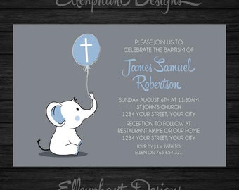 Baptism Invitation, christening, first communion, elephant, baby elephant, boy, blue, balloon, gray, custom invite, digital file, you print