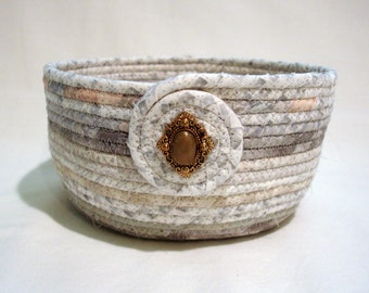 Silver Gray Coiled Fabric Bowl
