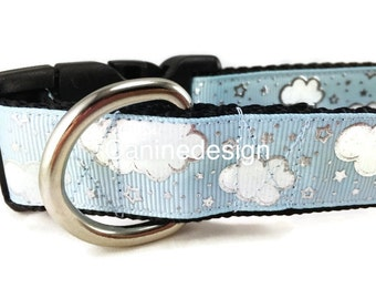 Dog Collar, Clouds, 1 inch wide, adjustable, quick release, metal buckle, chain, martingale, hybrid, nylon