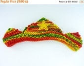 ON SALE Waldorf Crown - Birthday Crown - Red, Green and Yellow Plant Dyed Wool Yarn - Plant Dyed Wool Felt Appliqued Yellow Star - Knit