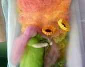 Wool art- Waldorf inspired - Childs decor - Summer time -sunflowers - Birthday gift