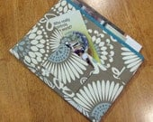 Taupe, Blue and White Tract and Magazine Holder, Organizer, Tablet Sleeve,With Contact Card Pocket