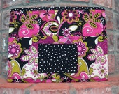 Pink, Green and Black Magazine & Tract Bag, Tablet Sleeve, With Contact Card Pocket