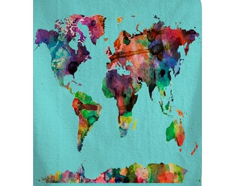 Custom softball bed runnerscarf yellow and red stitch personalized watercolor world map plush fleece blanket shown aqua med blue hot pink gumiabroncs Images