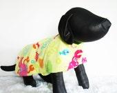 Fleece Dog Jacket, Fleece Dogs Coat, warm dog clothing, sea themed dog jacket, yellow fleece dog coat, pet clothes, pet jacket, large dog