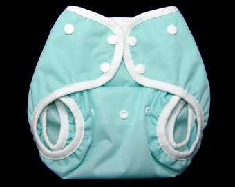 One Size PUL Front Snapping Gusseted Diaper Cover - Seaspray Front Snap Cloth Diaper Cover - OS Waterproof Cloth Diapering
