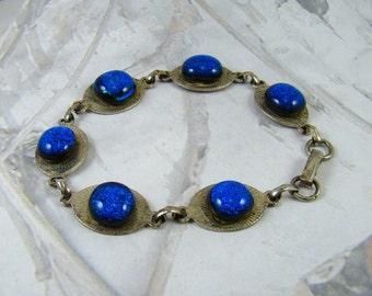 Deep Blue Sea Glass Bracelet Shocking Blue In Your Face Beauty Sparkly Bracelet - PLUS Bonus! :)