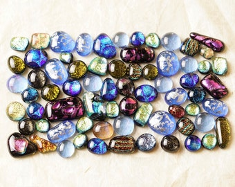 Lot of 70 Dichroic Fused Glass Beads Cabs Cabochons