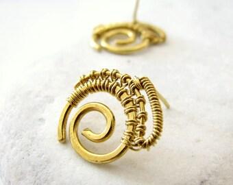 Minimalist earrings Spiral earrings Spiral stud earrings Small stud earrings Gold studs Brass earring studs