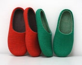 Salmon kiss / Felted wool slippers are ready to ship in EU42