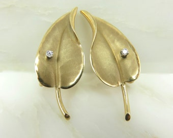 Circa 1960 14kt Gold and Diamond Leaf Earrings