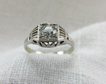 Circa 1930 18kt White Gold Diamond Engagement RIng