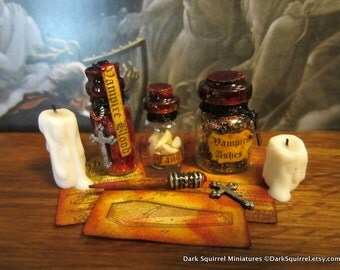 Vampire Hunter Accoutrements set dollhouse miniature, Vlad, vampire, Dracula, spooky, skull, Halloween, haunted in 1/12 scale
