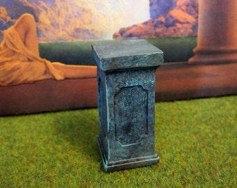 Copper Verdigris Pedestal dollhouse miniature, garden, pillar in 1/12 scale