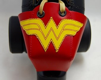Red Leather Toe Guards with Wonder Woman Logo