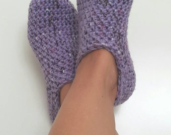 Lilac Crochet Womens Slippers, Ballet Flats, House Shoes