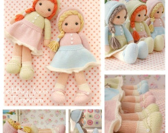 Little Yarn Dolls / PDF Doll Knitting Pattern/ Method 1/ TEAROOM Knitted Dolls/ Toy Knitting Pattern/ INSTANT download