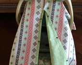 Tribal Aztec Baby Carseat Cover -  Bows INCL  - All Cotton - Baby Girl - Ready To Ship - Mint Green - Coral - Gray