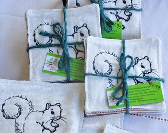 Coasters White Squirrel Upcycled Fabrics Waterproof Set of 4