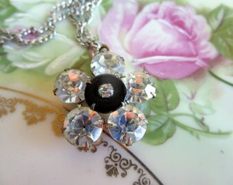 Vintage rhinestone Headlight flower necklace pendant