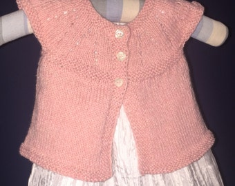 Baby Cardi Top  Hand Knit Sleeveless Cardigan 6 Mths Pink Cotton Acrylic Free US Shipping!