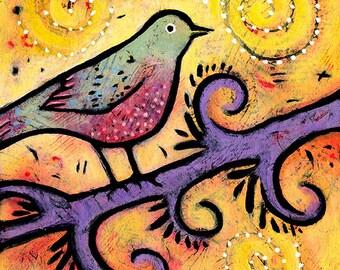 """Bird Art Print, 8"""" x 8"""", colorful art print of bird titled Singing a Fiesta Song"""
