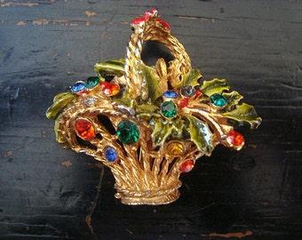 Vintage Jeweled Flower Basket Brooch Enameled Leaves