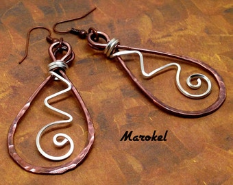 RESERVED Copper Teardrop Earrings Dangle Hammered Wire Oxidized Mixed Metals Square Silver Wire Minimalist