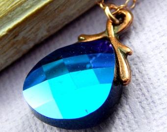 Briolette Necklace, Rose Gold Necklace, Crystal Necklace, Jet Glacier Blue Swarovski Crystal Briolette
