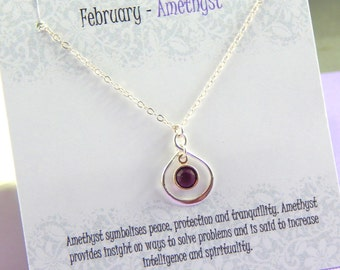 February Birthstone Necklace, Personalized infinity necklace, Amethyst, birthstone jewelry, gift boxed necklace