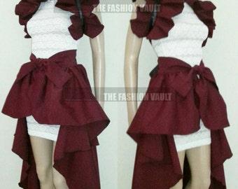 Sale Manga Cosplay Burgundy Bustle  skirt and collar bolero wrap Burlesque Showgirl  Celebrity style