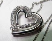 CZ Heart Slider Pendant on Sterling Silver Chain 18 Inch Chain