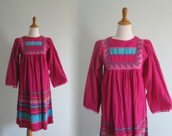 Vintage 1980s Dress - Bright Pink Indian Cotton Boho Dress - 80s India Cotton Dress S