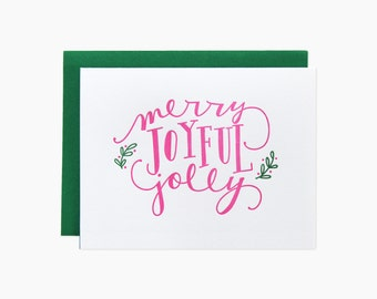 Merry Joyful Jolly Holiday Letterpress Cards. Set of 6