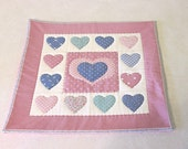 vintage fabric dusty pink hearts quilted table mat, center piece, wall hanging    you decide its use!