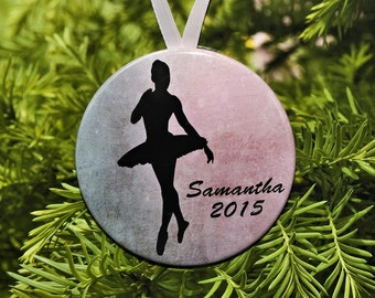 Ballet Silhouette Christmas Ornament - 3 color choices - customized - C089